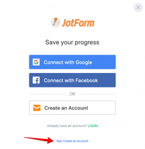 JotForm Save Option